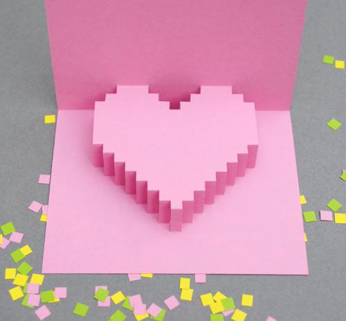 Tarjeta corazón 3D píxelart