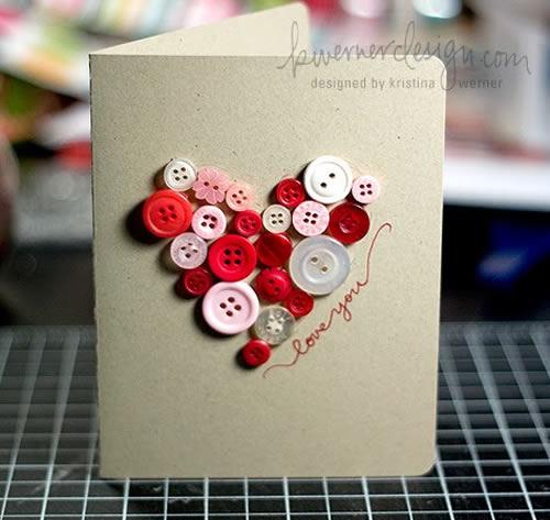 Tarjeta corazón de botones