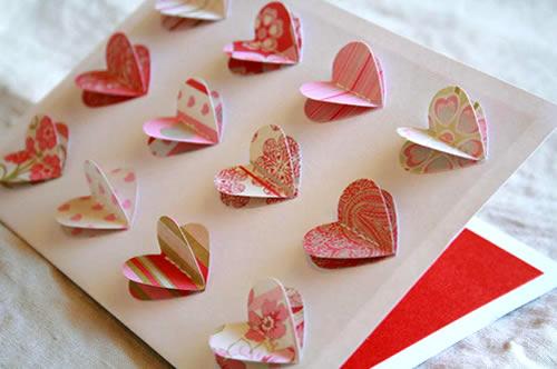 Tarjeta corazones Scrapbook