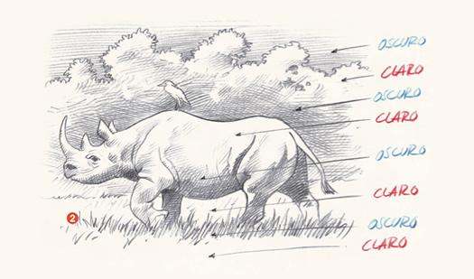 Dibuja un rinoceronte en la selva con tmperas