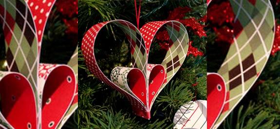 Corazones de papel para decorar el Árbol de Navidad