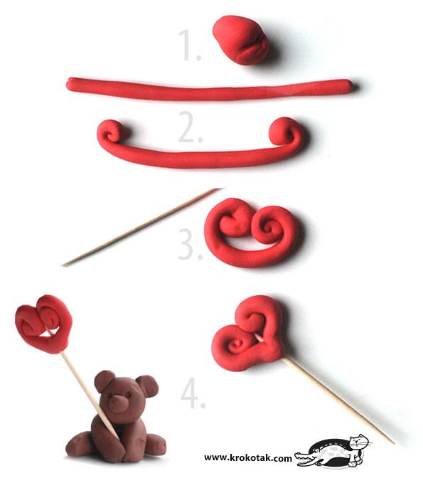 Osito de plastilina para San Valentín