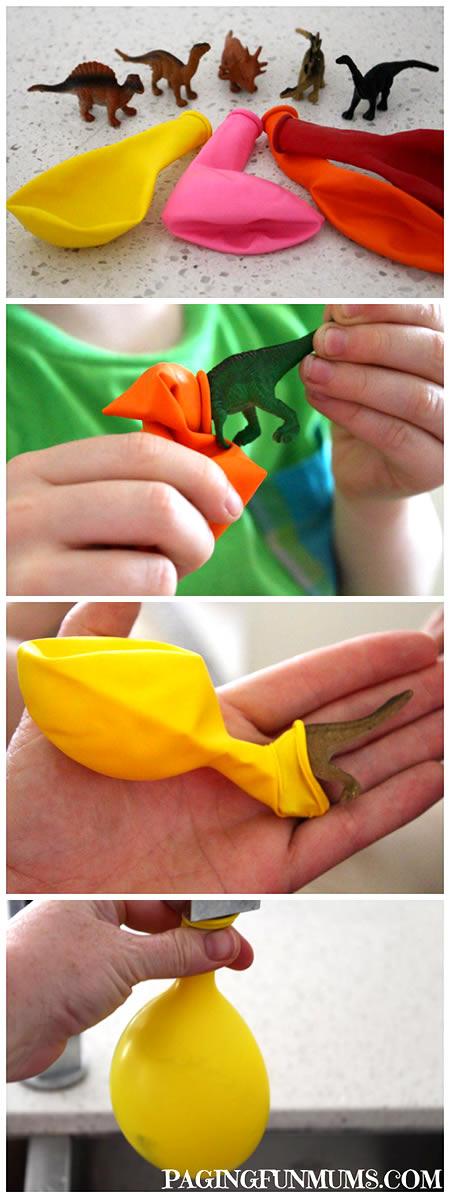 Manualidad de Dinosaurios congelados