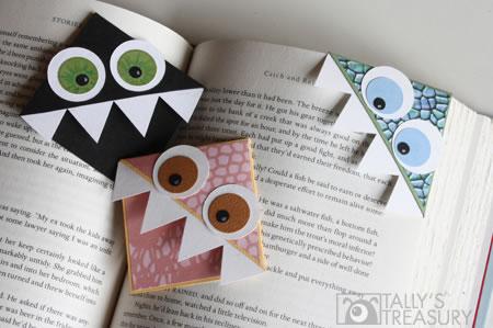 Puntos de libro esquineros con forma de monstruito