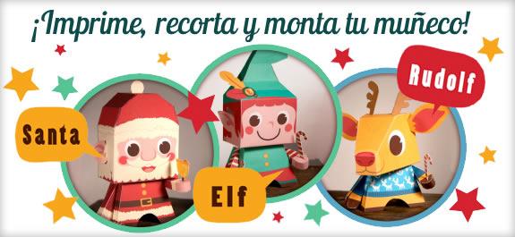 Recorta y monta figuritas de papel de Santa Claus, Rudolph y un Elfo