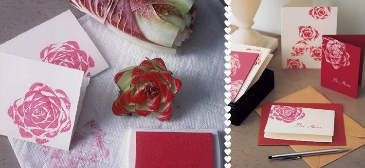 Tarjetas de rosas estampadas con una lechuga